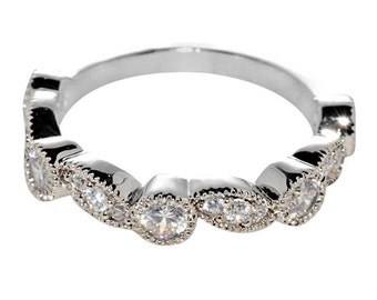 Womens Sterling Silver Band 4mm White Cubic Zirconia CZ Ring with Rhodium