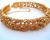 Textured Gold Plated PANETTA Hinged Bracelet, Modernist, Vintage
