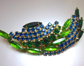 Blue Green Rhinestone Leaf Brooch, Curved Arch, Navettes-Chatons, Vintage