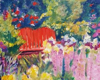 red bench in secret garden original oil painting garden art 8x10inches