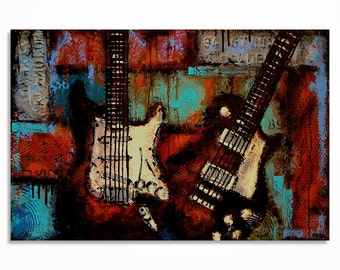 Guitar painting, Modern Guitar Art, Music wall art, Les Paul, Gift for a musician, Original Guitar Painting on canvas MADE TO ORDER