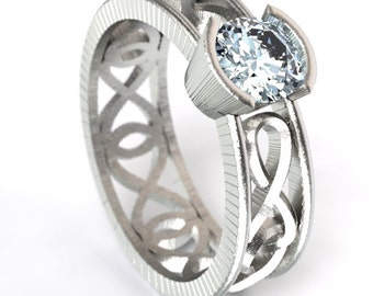 Celtic Moissanite Ring With Infinity Symbol Design in Sterling Silver, Made in Your Size CR-1027