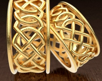Celtic Wedding Ring Set With Murphy Infinity Knotwork Design in 10K 14K 18K Gold, Palladium or Platinum Made in Your Size CR-268