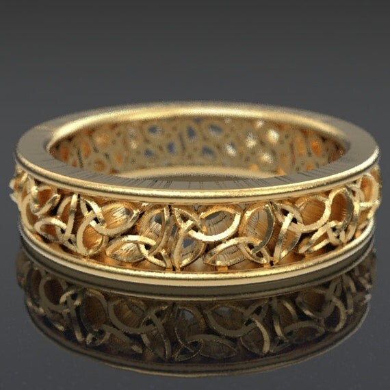 Celtic Wedding Ring With Cut-Through Trinity Knot Design in 10K 14K 18K Gold, Palladium, Platinum, Made in Your Size CR-617