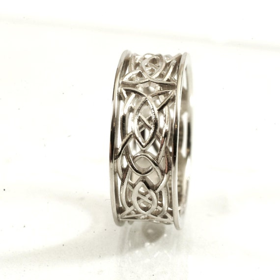 Celtic Wedding Ring With Open Cut-Through Knotwork Design in 10K Gold, Made in Your Size CR-112