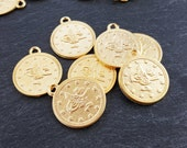 Large Round Coin Charms Non Tarnish Turkish Coins 22k Matte Gold Plated Jewelry Supplies Findings Components - 20mm - 8pcs
