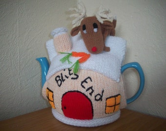 Knitted Tea Cosy Cozy Cosie Christmas Cottage with Blitzen Shabby Chic