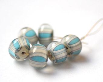 Handmade Glass Lampwork Beads - Ivory Turquoise Beige - 6 pcs Glass Lampwork Beads Set