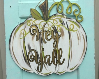 Finished Green and White Pumpkin, Door Hanger, Fall Wall Decor, Wooden