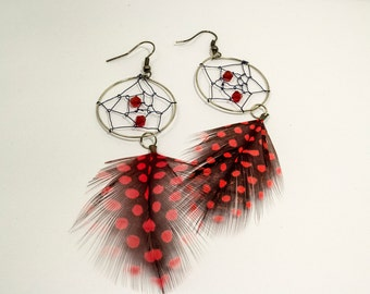 Dreamcatcher Feather and Beads Earrings - Funky Feather Clouds