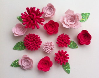 12 Hand made pale pink and cerise felt 3d flowers & glitter fabric leaves.For sewing projects,felt flower crown, headbands,flower garlands
