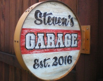 Personalized Rusty Vintage Style Garage Signs-double sided