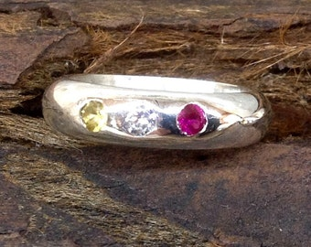 Band  ring with 3 birth stones Sterling silver