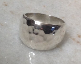 Hammered Texture Ring Sterling Silver