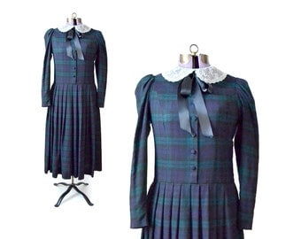 1930s Costume, 30s Costume, 1920s Costume, 20s Costume, Vintage Dress, Womens Clothing, Wool Dress, Long Sleeve Dress, Plaid Downton Small