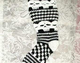 PDF Crochet Pattern  Plus Size Creepy Skull Slipper Stockings Knee High