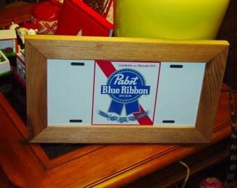 Pabst Blue Ribbon Beer License Plate Bar Sign Framed cedar