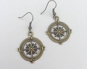 Bronze Compass Charm Earrings