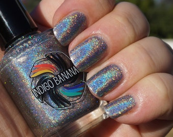 Holy Matrignomey - silver linear holographic - nail polish by Indigo Bananas