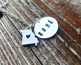 Hand Stamped Home Missouri Necklace