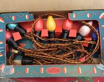 Vintage Late 1920's Christmas Lights Reliance Outdoor Christmas Lighting Outfit Swirl Flame Bulbs