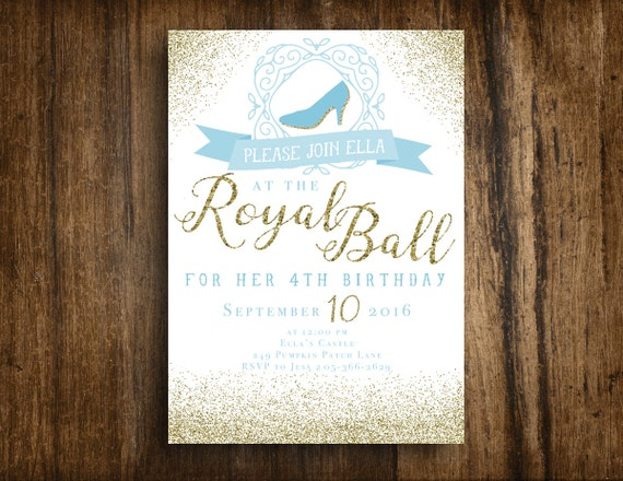 Cinderella royal ball printable birthday invitation for Cinderella invitation to the ball template