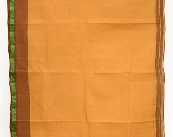 Pure Cotton Solid Sandy Brown Fabric Saree Vintage Indian Crafting Fabric Sari   TP3434
