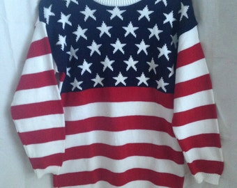 Vintage American Flag Sweater Made in USA 90s Red White and Blue Sweater Stars and Stripes Sweater Fourth of July 4th of July