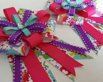 Horse show bows with rainbow unicorns and bling accents