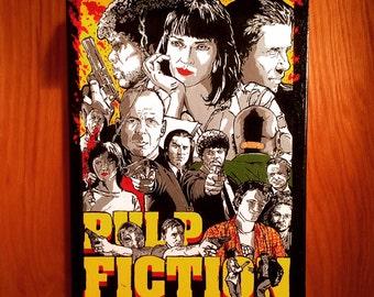 """Hand Painted  PULP FICTION Acrylic Painting on Stretched Canvas 12"""" x 16"""""""