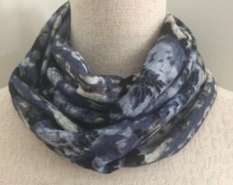 Womens Black, Grey and Cobalt Blue Infinity/loop scarf. This scarf is called the Skye