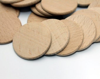 10 Unfinished Wood Discs Coins Circles Round Flat Unfinished (diameter 37mm)