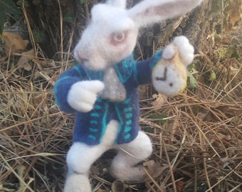 MADE TO ORDER Needle felted White Rabbit from Alice in Wonderland