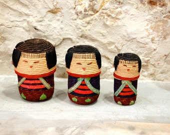 Chinese matriochka dolls in straw- vintage