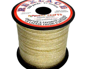 "Plastic Craft Lace 3/32"" X 100 Yards - Gold Glitter"