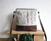 Small size naturalistic handbag, Crossbody linen bag, Clutch Purse, Hand printed linen, plants stamp