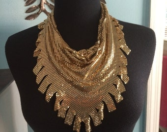 Reserved for Milli Diamont. Gold metal Mesh Bib necklace/collar/scarf