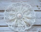 lace hair bow, rustic hair clip, wedding ivory lace clip, ivory lace hair clip, vintage hair clip, lacy hair  clip, flower girl bow, lace