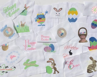 Bulk Easter Embroidered Squares for Quilt squares, Pillow trimming, bag making or other crafts. Easter swatches, Easter fabric squares