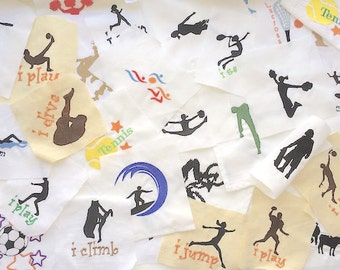 Sports Embroidered Squares for Quilt squares, Pillow trimming, bag making or other crafts. Sport fabric squares, sport swatches