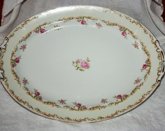 Vintage Large Occupied Japan Platter Rose Decorated Aladdin Fine China