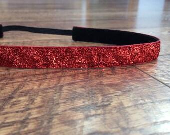 red sparkle non-slip headband. running, workout, red, sports, team colors, headband, hair, accessory, nurse, women's, girl's, glitter