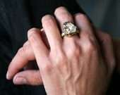 Raw Herkimer diamond  antique gold witch ring - solid yellow bronze