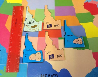 5 magnetic IDAHO puzzle pieces
