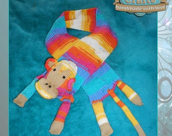 Hand Knitted Monkey Childs Scarf