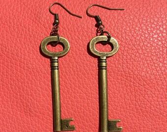 Shabby Chic Vintage Key Earrings