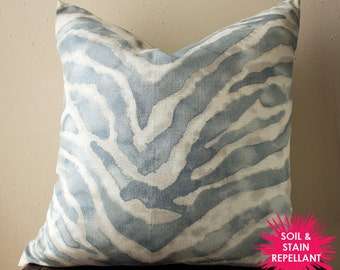 blue watercolor zebra print pillow cover - soil & stain repellant - COVER ONLY