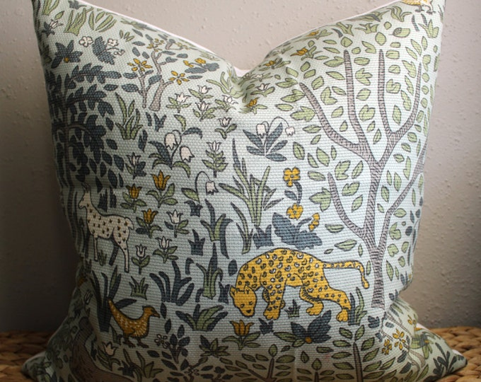 "DISCONTINUED mint green ""forest and friends"" pillow cover"