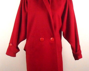 Long Red Coat Vintage Coat Winter Coat Long Coat Red Wool Coat Long Wool Coat Red Jacket Trench Coat Womens Coat Long Jacket Outerwear