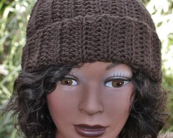 Crochet ribbed hat with pom pom